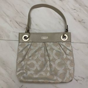 Coach ivory and silver purse